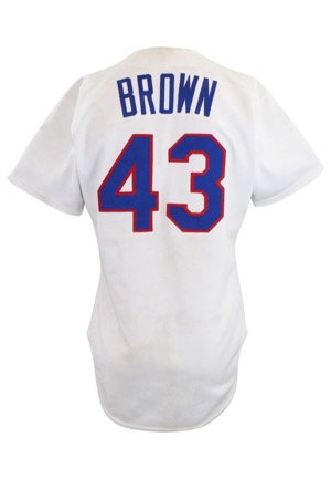 1986 Kevin Brown Texas Rangers Game-Used & Autographed Rookie Home Jersey (JSA)