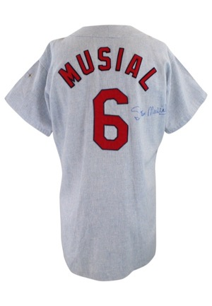 Mid 1960s Stan Musial St. Louis Cardinals Autographed Display Flannel Jersey (JSA)