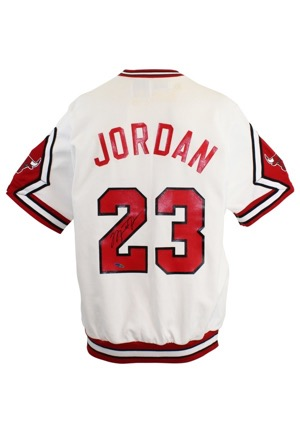 1989-90 Michael Jordan Chicago Bulls Player-Worn & Autographed Home Shooting Shirt (Mint UDA Signature)