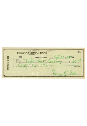 Ty Cobb Autographed Personal Bank Check (PSA/DNA Graded 9)
