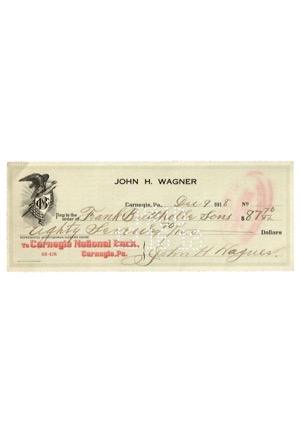 Honus Wagner Autographed Personal Bank Check (PSA/DNA)
