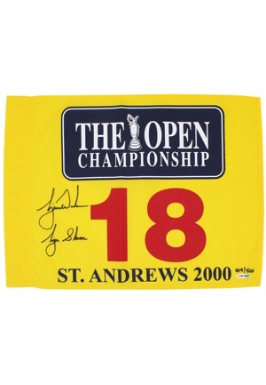"2000 Tiger Woods Single-Signed & Inscribed ""Tiger Slam"" LE British Open Pin Flag (JSA • UDA)"