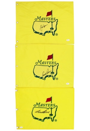 "Arnold Palmer, Jack Nicklaus & Sam Snead Single-Signed ""Masters"" Pin Flags (3)(Full JSA • PSA/DNA)"