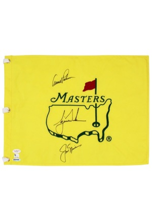 "Tiger Woods, Jack Nicklaus & Arnold Palmer Multi-Signed ""Masters"" Pin Flag (Full JSA • UDA Hologram)"