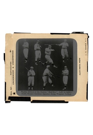 "Boston Red Sox ""Mighty Hitters"" Underwood & Underwood & Chicago Transparency Co. Glass Plate Negatives Featuring Larry Gardner (2)"