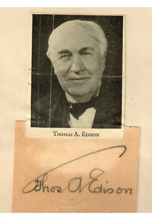 Thomas Edison Autographed Cut (PSA/DNA Graded 9 • Rare)
