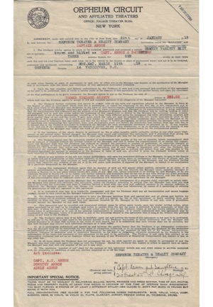 "1918 Adrian ""Cap"" Anson Autographed Theater Contract (PSA/DNA • Rare)"