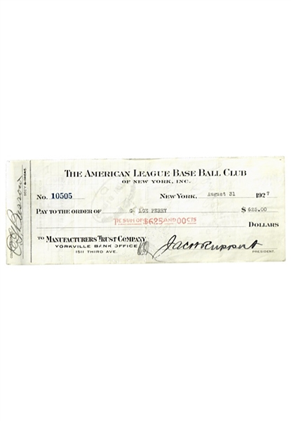 1927 New York Yankees Payroll Check Signed By President Jacob Ruppert, Ed Barrow & George Perry (JSA)