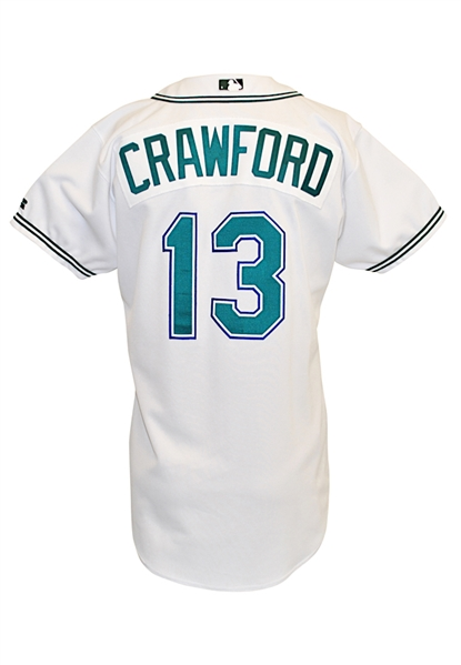 2002 Carl Crawford Tampa Bay Devil Rays Rookie Game-Used Home Jersey