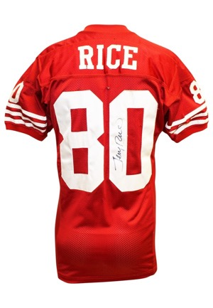 Late 1980s Jerry Rice San Francisco 49ers Game-Used & Autographed Road Jersey (JSA)
