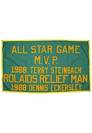 1988 Dennis Eckersley & Terry Steinbach Oakland As Rolaids Relief Man & All Star Game MVP Large Flag