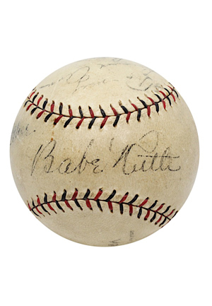 "1927 Babe Ruth & Lou Gehrig ""Bustin' Babes And Larrupin' Lou's"" Game-Used & Dual-Signed Barnstorming Baseball (Full JSA & PSA/DNA LOAs• Exceedingly Rare ""Louis"" Gehrig Auto • Only Known Example)"