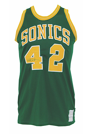 1977 Wally Walker Seattle Supersonics NBA Finals Game-Used & Dual Autographed Road Uniform (2)(JSA • Photo-Matched & Graded 10)