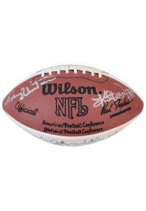 NFL Hall Of Famers & Stars Multi-Signed White Panel Football Including Blanda, Tittle & Many More (JSA)