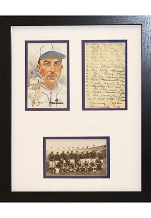 "1931 Al Simmons Handwritten ""U.S. All Star Team"" Tour Of Japan Framed Lineup Display"