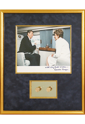 Ronald Reagan Presidential Seal Gold Cufflinks Framed With Photo Display (Rare & Desirable)