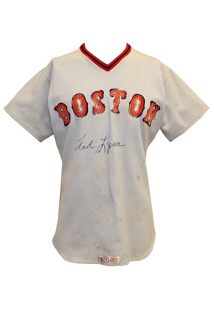 1977 Fred Lynn Boston Red Sox Game-Used & Autographed Road Jersey (JSA • Early Example)
