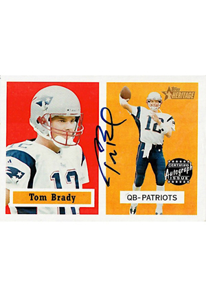 2002 Topps Heritage Tom Brady Autographed Football Card (JSA)