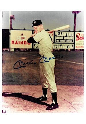 Mickey Mantle Single-Signed 8x10 Full Color Photo (JSA)