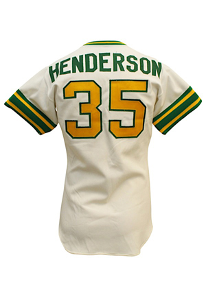 1979 Rickey Henderson Oakland As Rookie Game-Used & Autographed Home Jersey (JSA • Graded 9)