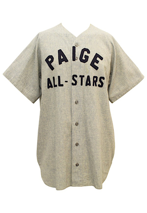 "Dont Look Back: The Story of Leroy ""Satchel"" Paige Screen-Worn Jersey Dual-Autographed By Negro Leaguers Lou Dials & Ray Dandridge (JSA)"