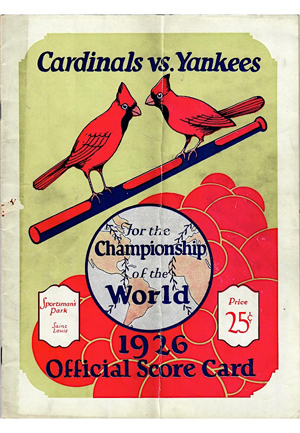 1926 Cardinals World Series Program & Game 4 Ticket Stub From Ruths 3 HRs (2)(JSA • Historic)