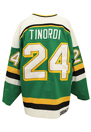 1991 Mark Tinordi Minnesota North Stars Stanley Cup Game-Used & Autographed Jersey (JSA • Outstanding Use)