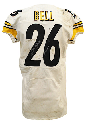 2013 LeVeon Bell Pittsburgh Steelers Game-Used & Autographed Rookie Jersey (JSA • NFL PSA/DNA • Photo-Matched To First Career Touchdown)