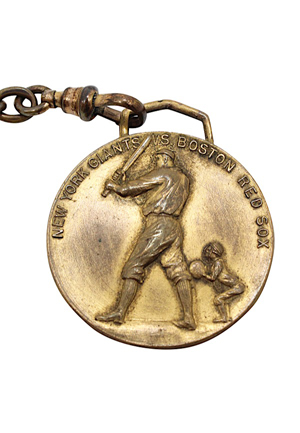 1912 New York Giants vs Boston Red Sox World Series Pocket Watch Medallion & Chain