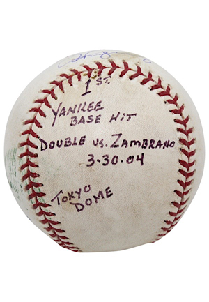 2004 Alex Rodriguez New York Yankees Game-Used, Autographed & Inscribed First Yankee Base Hit Baseball From Japans Tokyo Dome (JSA • MLB Hologram • Rodriguez LOA)