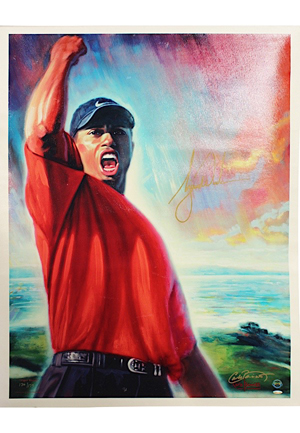 "Tiger Woods Autographed ""Tiger Roars"" Carlo Beninati LE Artist Proof Lithograph (JSA • UDA)"