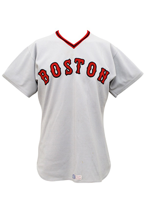 1975 Carlton Fisk Boston Red Sox Game-Used Road Jersey