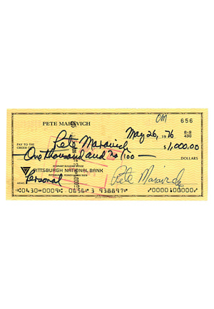 Pete Maravich Dual-Autographed Personal Bank Check (JSA • PSA/DNA Graded 9)