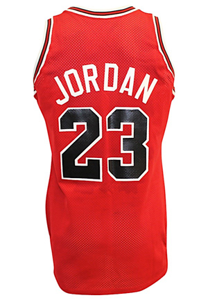 1989-90 Michael Jordan Chicago Bulls Game-Used & Autographed Road Jersey (Full JSA • Graded 10 W/ Discernible Sweat Staining & Great Wear)