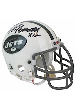 """Broadway"" Joe Namath Single-Signed & Inscribed Riddell Mini Helmet (JSA)"