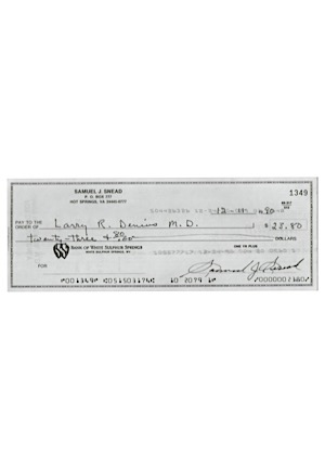 1990 Sam Snead Autographed Personal Check (PSA/DNA Graded GEM MT 10)