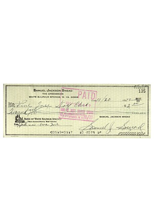 "1972 Sam Snead Autographed Pine Tree Golf Club ""Hole In One Insurance"" Personal Check (JSA)"