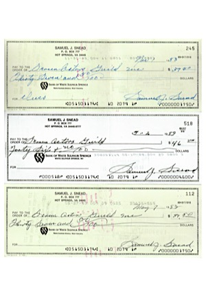"1980s Sam Snead Autographed ""Screen Actors Guild"" Personal Checks (3)(JSA)"