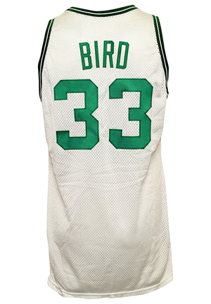 1988 Larry Bird Boston Celtics Game-Used NBA Playoff Jersey (JSA • Celtics Switch To Mesh For The Playoffs • Tremendous Use)