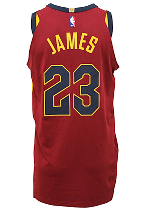 2017-18 LeBron James Cleveland Cavaliers Game-Used Alternate Jersey & Nike Pro Combat PE Compression Shirt (2)