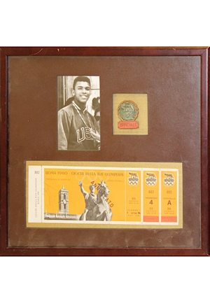 Framed 1960 Cassius Clay Autographed Olympic Ticket & UFFICIALE Official Pin Display (JSA)