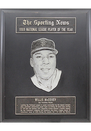 1969 Willie McCovey National League Player Of The Year Sporting News Award