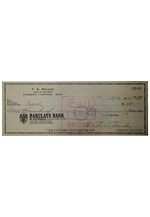 Scarce Leo Fender Signed 1970 Personal Check (JSA)
