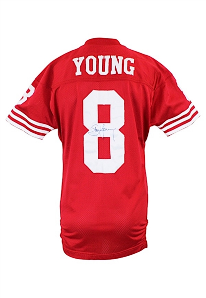 Circa 1993 Steve Young San Francisco 49ers Game-Issued & Autographed Home Jersey (JSA)