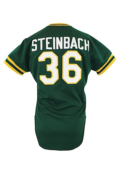 1986 Terry Steinbach Oakland As Game-Used Rookie Green Alternate Jersey