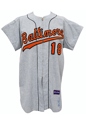 1965 Don Larsen Baltimore Orioles Game-Used & Autographed Road Flannel Jersey (Graded 10)