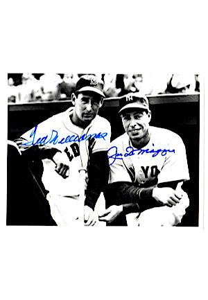 Hall Of Famers Autographed 8x10 B&W Photos Including Williams & DiMaggio, Hubbell, Waner & Chandler (4)