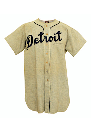 1947 Birdie Tebbetts Detroit Tigers Game-Used & Autographed Road Flannel Jersey (Graded 10)