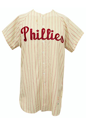 1958 Roy Smalley Philadelphia Phillies Game-Used Home Flannel Jersey