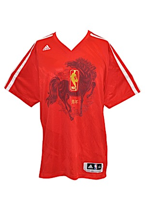 2013-14 Brooklyn Nets NBA Chinese New Year Celebration Player-Worn Shooting Shirt Attributed To Paul Pierce